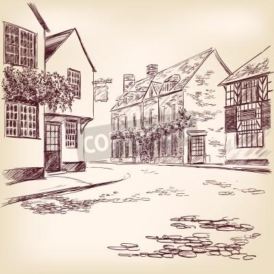 Poster antiga rua Inglês desenhado à mão