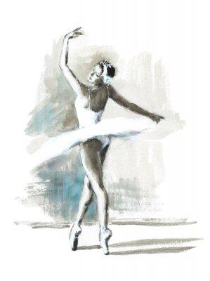 Poster Aquarela Ballerina mão pintado balé dançarino ilustração