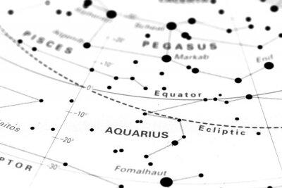Poster Aquarius estrela mapa do zodíaco. Signo Aquário em um mapa estelar astronomia.
