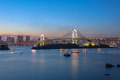 Poster arco-íris ponte Odaiba Tokyo Japão destino importante para visitar