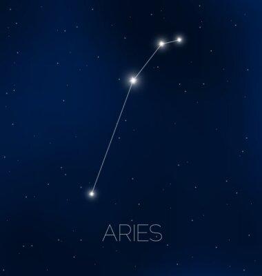 Poster Áries constelação no céu nocturno