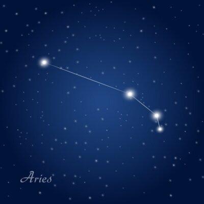 Poster Aries sinal da constelação do zodíaco no céu nocturno estrelado