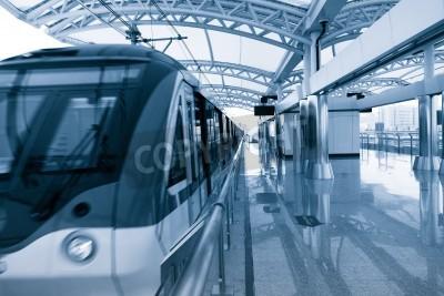 Poster Arquitetura moderna da estação de trem em Xangai, China.