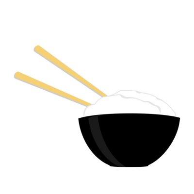 Poster Arroz, tigela, dois, chopsticks