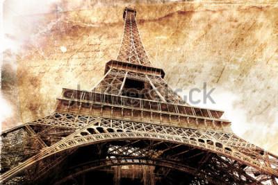Poster Arte digital abstrata da torre Eiffel em Paris, ouro. Papel velho. Cartão postal de alta resolução, imprimível em tela