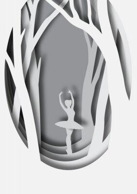 Poster Arte em papel escultura de bailarina