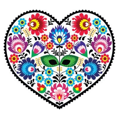 Poster Arte popular arte coração polonês com flores - lowickie wzory