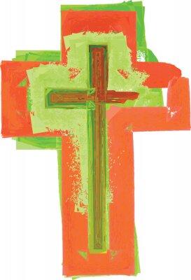 Poster Artístico, abstratos, aguarela, estilo, colorido, verde, vermelho ...