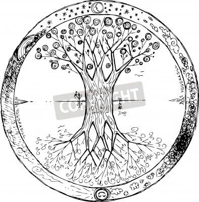 Poster Árvore celta da mandala da vida Yggdrasil