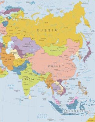 Poster Ásia-map.Layers altamente detalhados utilizados.
