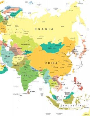 Poster Ásia - mapa - ilustração. Ásia mapa - ilustração altamente detalhada do vetor.