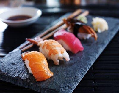 Poster assorted sushi nigiri on slate