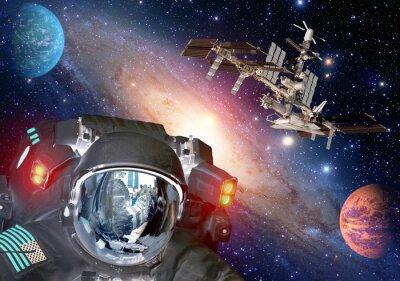 Poster Astronaut e extraterrestres sci fi ufo space space spaceship. Elementos desta imagem fornecida pela NASA.