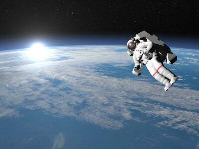 Poster Astronauta ou cosmonauta a voar sobre a Terra - 3D rendem