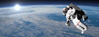 Poster Astronauta ou cosmonauta voando sobre a terra - 3D rendem