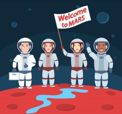 Poster Astronautas em Marte. Bem-vindo ao grupo mars.international com bandeira