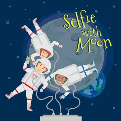 Poster Astronautas, homens, mulher, exterior, espaço, taking, selfie, Retrato, lua .selfie, lua, conceito, Ilustração