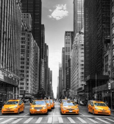 Poster Avenida avec des táxis à Nova York.