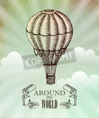 Poster Aventura aeronáutica. Vetorial, vindima, Ilustração, com, balão, EPS, 10