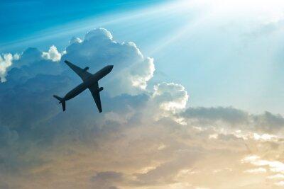 Poster Avião, céu, nuvem, amanhecer