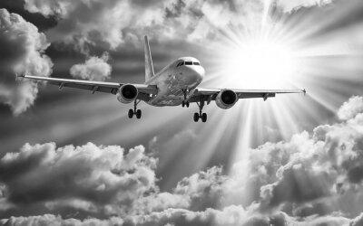 Poster Avião, decolagem, pistas, contra, bonito, nublado