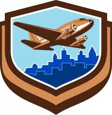 Poster Avião do vintage descola o protetor da vis