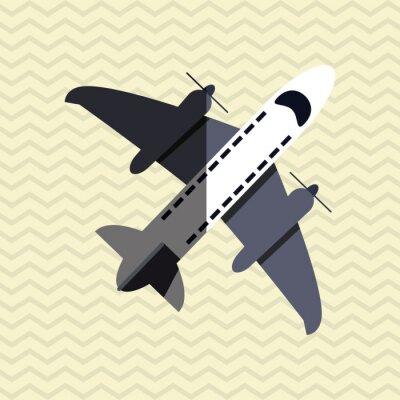 Poster Avião, ícone, desenho