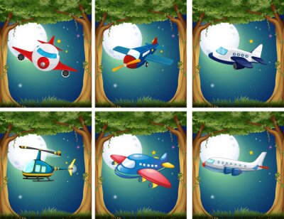Poster Aviões, copters, voando, noturna