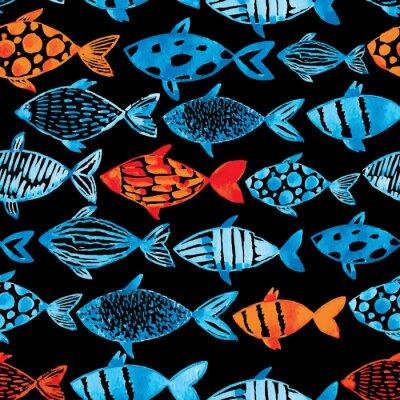 Poster Azul claro da aguarela e peixes do ouro no fundo preto.