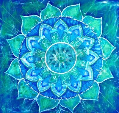 Poster azul quadro pintado com teste padrão do círculo, mandala de vishuddha chakra