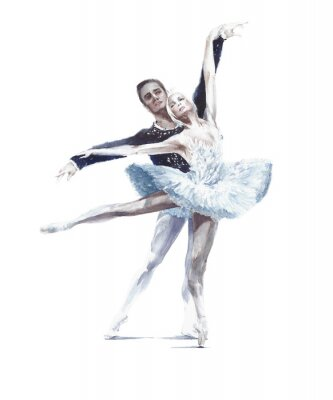 Poster Ballet dancers swan lake ballet ballerina in white tutu watercolor painting illustration isolated on white background