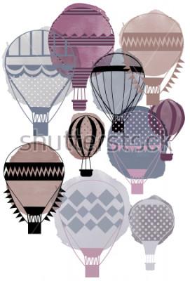 Poster Balões de ar aquarela vector