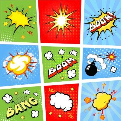 Poster Balões de fala em quadrinhos e tiras de quadrinhos ilustração de fundo