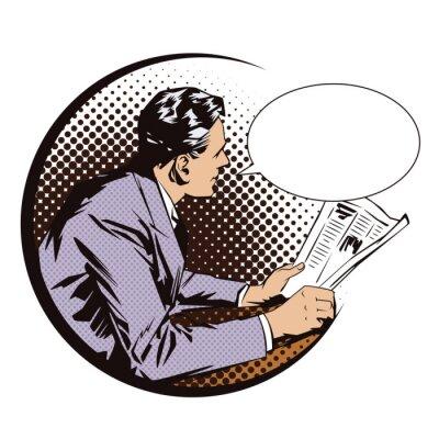 Poster Banco de ilustração. Povos no pop art retro do estilo e na propaganda do vintage. Homens com o jornal. Balão de fala.