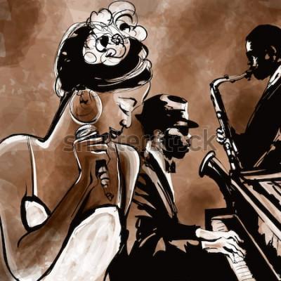 Poster Banda de jazz com cantora, saxofone e piano - ilustração vetorial