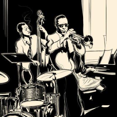 Poster Banda de jazz com contrabaixo trompete piano e bateria