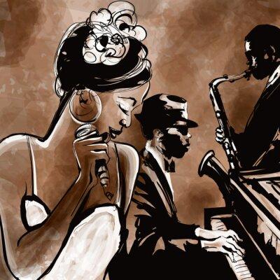 Poster Banda de jazz com o cantor, saxofone e piano - ilustração