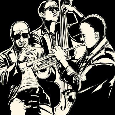 Poster banda de jazz com trompete e contrabaixo