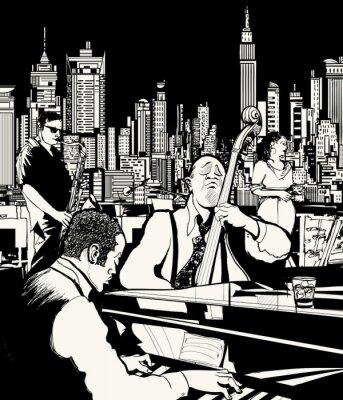 Poster Banda de jazz tocando em Nova York