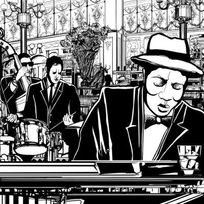 Poster banda piano Jazz em um restaurante