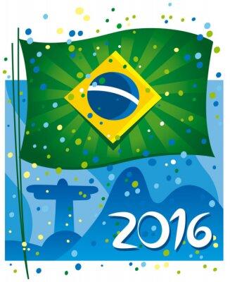 Poster Bandeira de Brasil comemora o ano novo na cidade maravilhosa