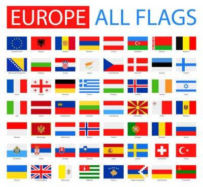 Poster Bandeiras de Europa - Coleção cheia do vetor. Jogo do vetor de bandeiras européias lisas.