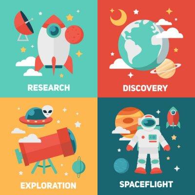 Poster Bandeiras do tema do espaço e cartões
