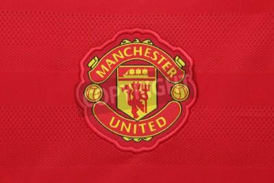 Poster BANGUECOQUE, TAILÂNDIA - 21 DE AGOSTO DE 2015: o clube de futebol de Manchester United em um jérsei oficial do clube agosto em 21.2015 em Banguecoque Tailândia. Diabos vermelhos está pronto para a pró