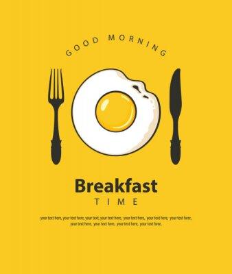 Poster Banner de vetor sobre o tema da hora do café da manhã com ovo frito, garfo e faca sobre o fundo amarelo com lugar para texto em estilo retro