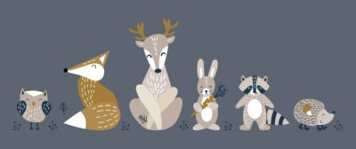 Poster Banner with cute woodland animals in scandinavian style. Set of nice characters on dark background. Flat vector illustartion.