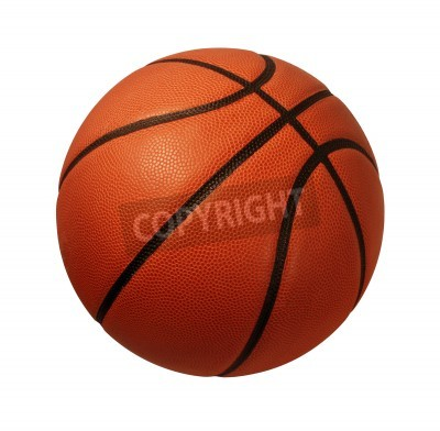 Poster Baskeball isolated on a white background as a sports and fitness symbol of a team liesure activity playing with a leather ball dribbling and passing in competition tournaments