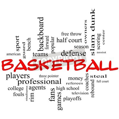 Poster Basketball Word Cloud Concept in red caps with great terms such as guard, steal, rebound, slam dunk, center, assist, games and more.
