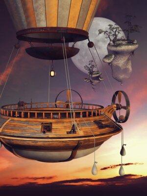 Poster Baśniowy balon na TLE księżyca i latających WYSP