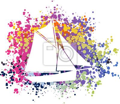 Poster Bateau voilier coloré